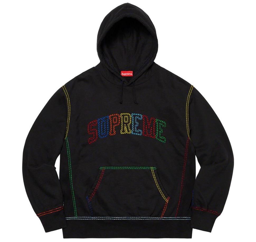 Supreme 2020fw week9 Big Stitch Hooded Sweatshirt シュプリーム 2020年 秋冬 フーディ スウェットシャツ black