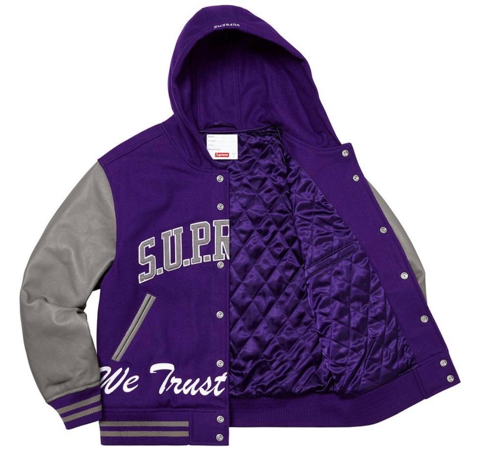 Supreme 2020fw week9 King Hooded Varsity Jacket シュプリーム 新作 2020年 秋冬 ジャケット purple