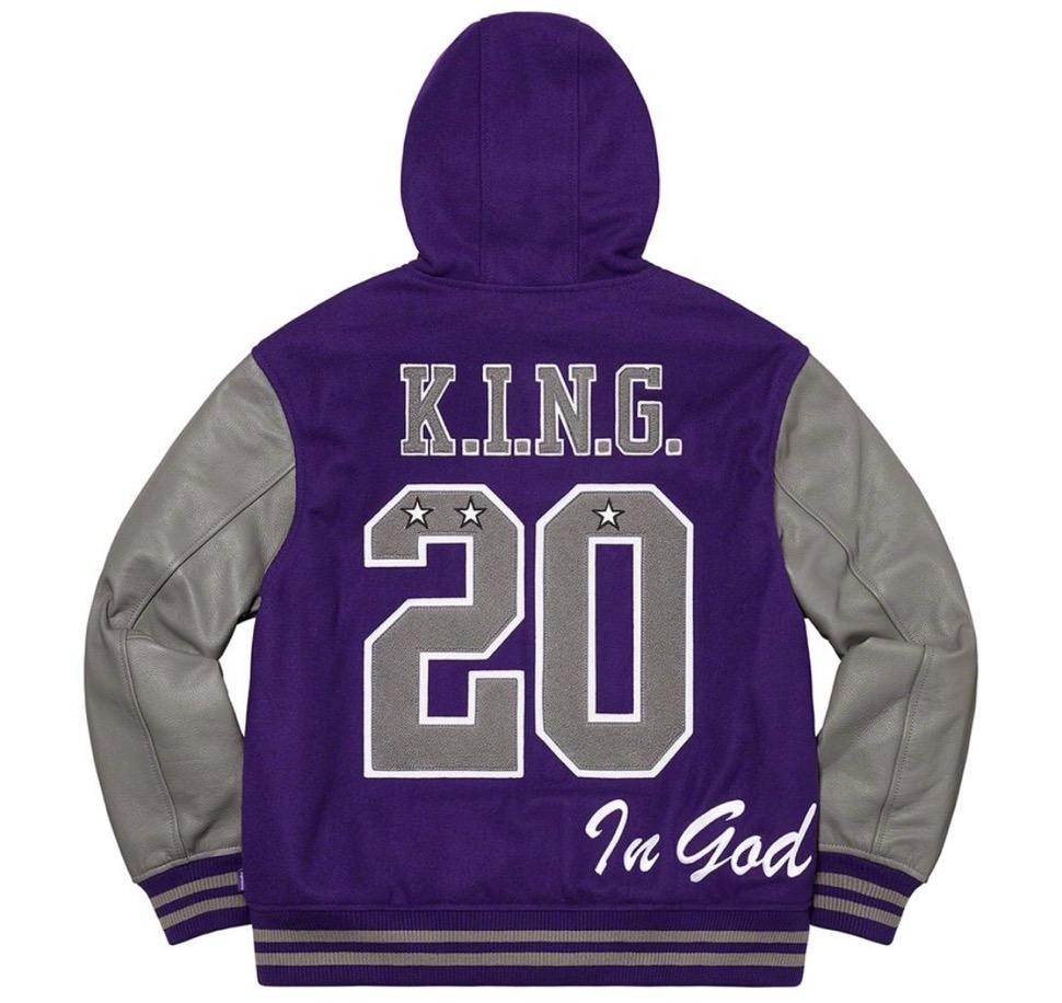 Supreme 2020fw week9 King Hooded Varsity Jacket シュプリーム 新作 2020年 秋冬 ジャケット purple back