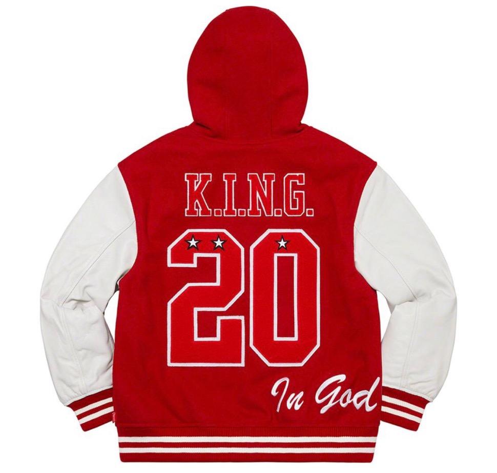 Supreme 2020fw week9 King Hooded Varsity Jacket シュプリーム 新作 2020年 秋冬 ジャケット red back