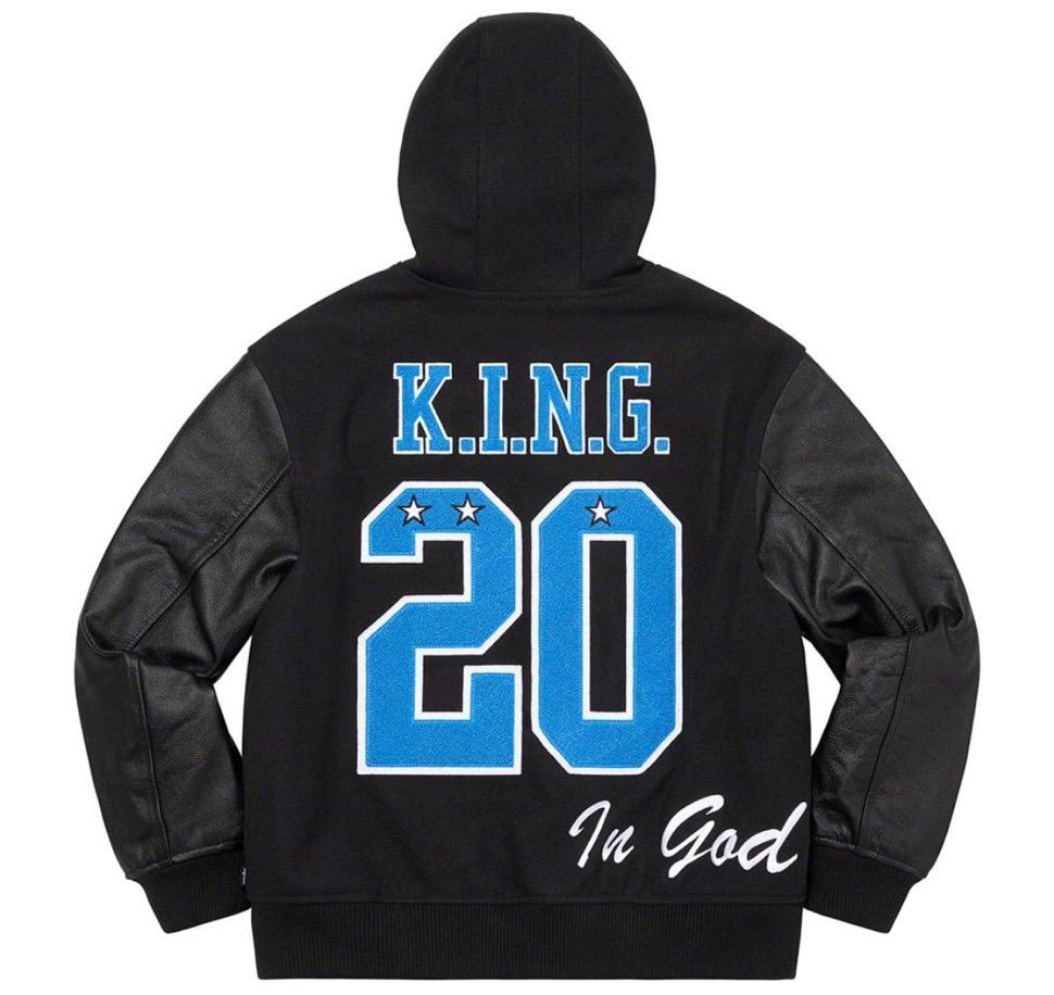 Supreme 2020fw week9 King Hooded Varsity Jacket シュプリーム 新作 2020年 秋冬 ジャケット black back