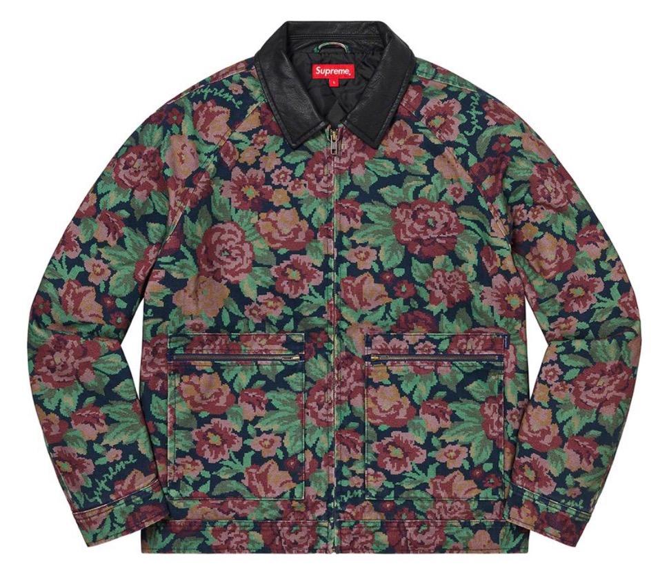 Supreme 2020fw week9 Leather Collar Work Jacket シュプリーム 2020年 秋冬 新作 ジャケット flower main