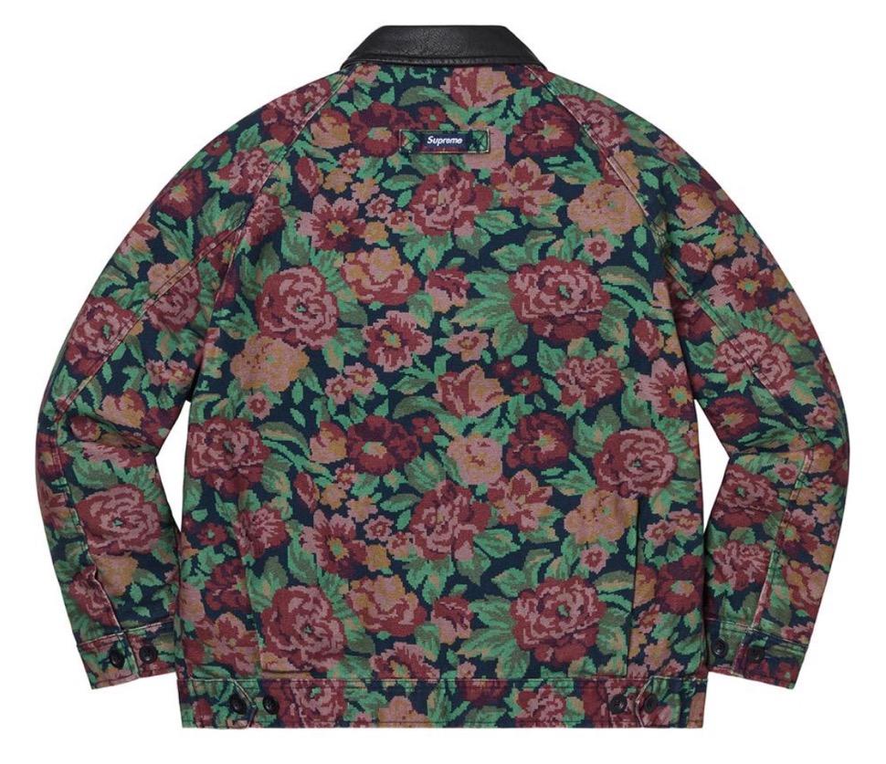 Supreme 2020fw week9 Leather Collar Work Jacket シュプリーム 2020年 秋冬 新作 ジャケット flower back