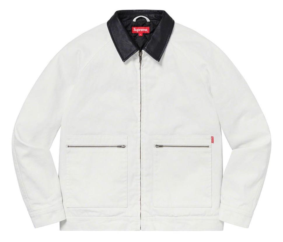 Supreme 2020fw week9 Leather Collar Work Jacket シュプリーム 2020年 秋冬 新作 ジャケット white main