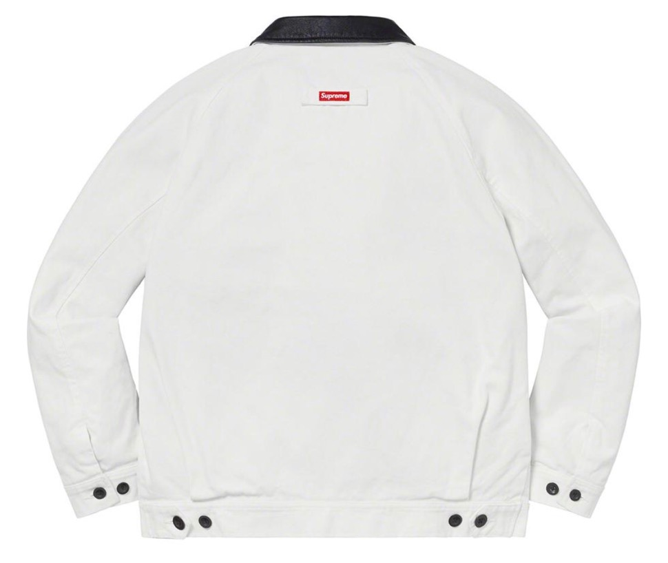 Supreme 2020fw week9 Leather Collar Work Jacket シュプリーム 2020年 秋冬 新作 ジャケット white back