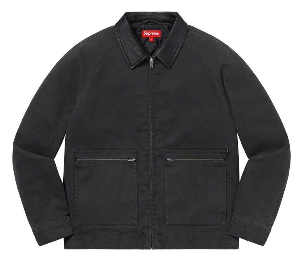 Supreme 2020fw week9 Leather Collar Work Jacket シュプリーム 2020年 秋冬 新作 ジャケット black main