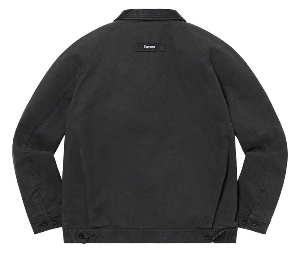 Supreme 2020fw week9 Leather Collar Work Jacket シュプリーム 2020年 秋冬 新作 ジャケット black back