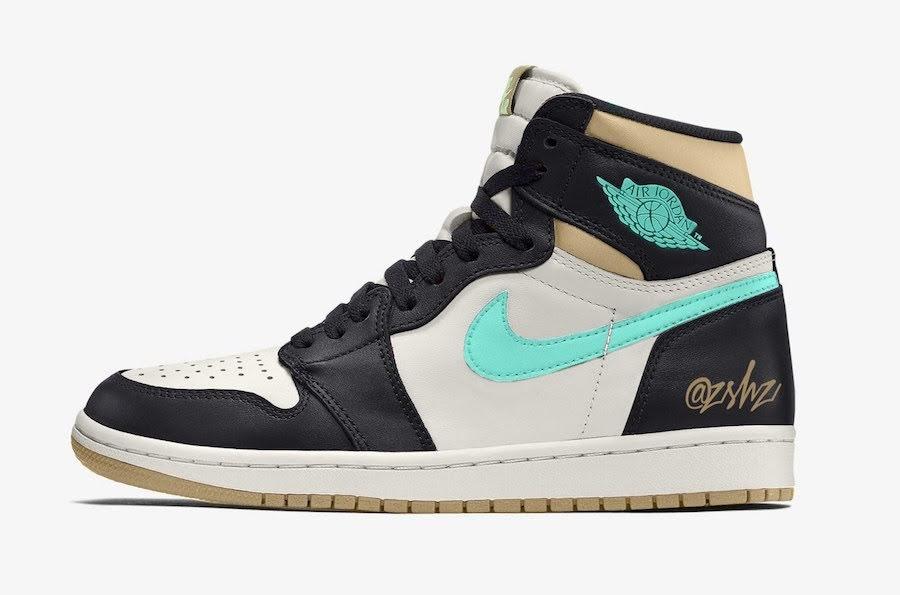 """ナイキ エア ジョーダン 1 レトロ ハイ OG """"フレッシュミント""""-Nike-Air-Jordan-1-Fresh-Mint-555088-033-mock-up"""