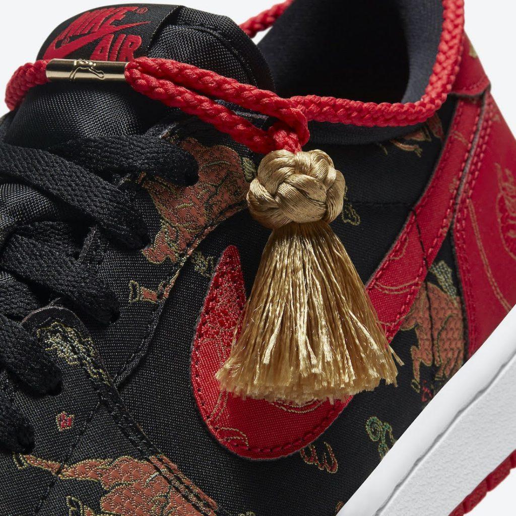 """ナイキ エア ジョーダン 1 レトロ ロー OG """"チャイニーズニューイヤー""""-nike-Air-Jordan-1-Low-CNY-Chinese-New-Year-DD2233-001-shoelace-detail"""