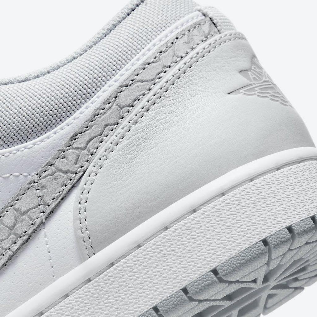 """ナイキ エア ジョーダン 1 ロー PRM """"エレファントプリント""""-Nike-Air-Jordan-1-Low-PRM-Elephant-Print-DH4269-100-heel-closeup"""