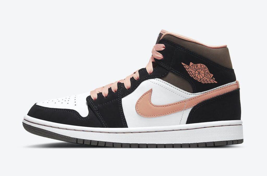 """ナイキ エア ジョーダン 1 ミッド """"ピーチ & モカ-Nike-Air-Jordan-1-Mid-DH0210-100-side"""