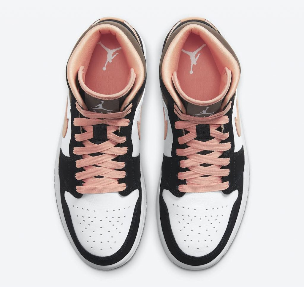 """ナイキ エア ジョーダン 1 ミッド """"ピーチ & モカ-Nike-Air-Jordan-1-Mid-DH0210-100-top"""