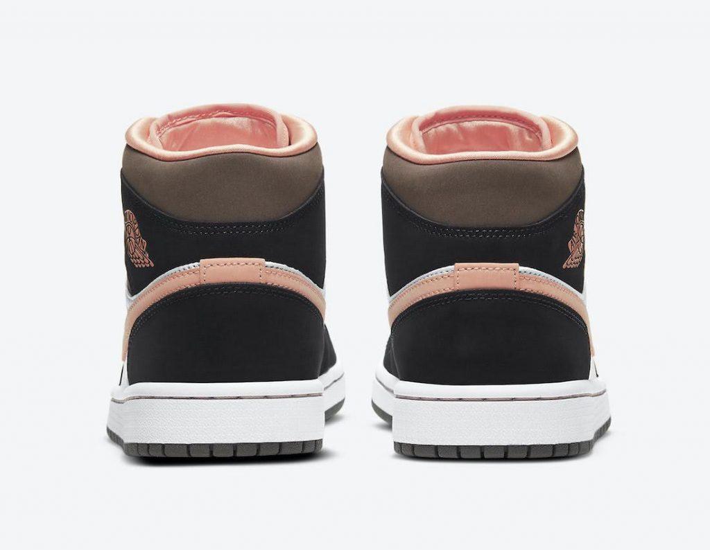 """ナイキ エア ジョーダン 1 ミッド """"ピーチ & モカ-Nike-Air-Jordan-1-Mid-DH0210-100-heel"""