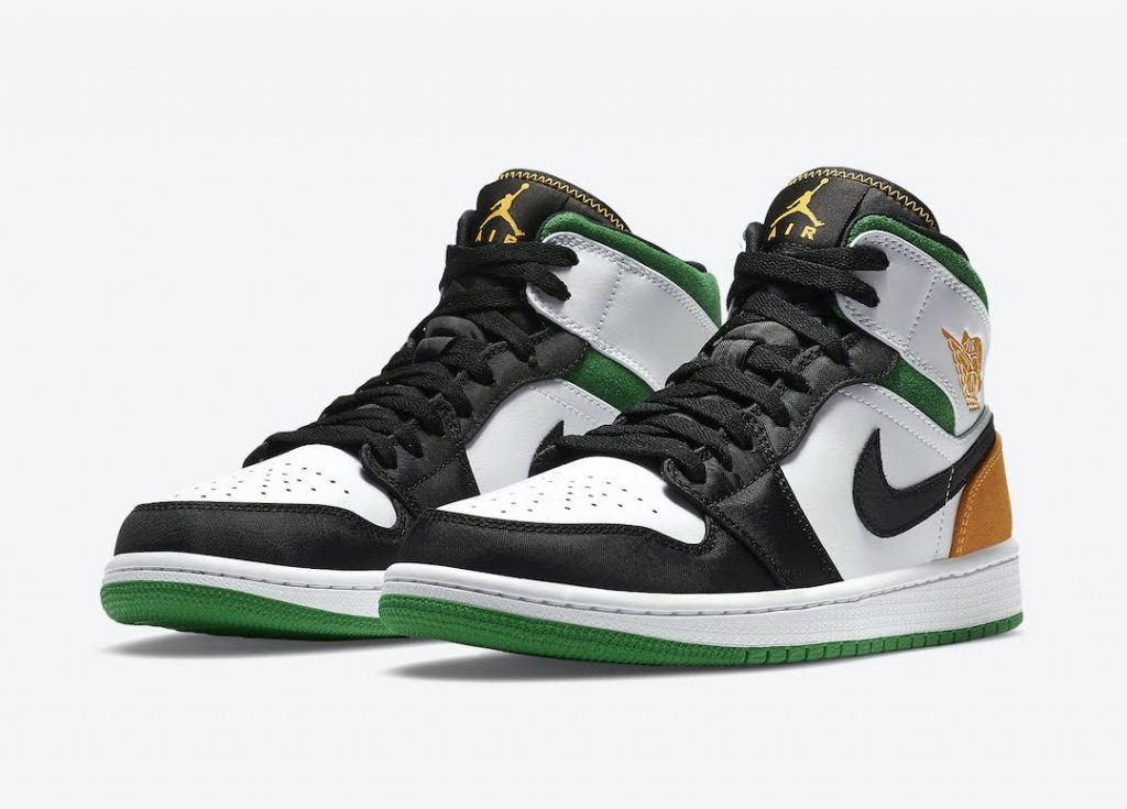"""ナイキ エア ジョーダン 1 ミッド SE """"オークランド""""-Nike-Air-Jordan-1-Mid-SE-White-Black-Green-Yellow-852542-101-pair"""