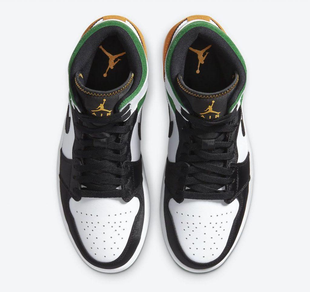 """ナイキ エア ジョーダン 1 ミッド SE """"オークランド""""-Nike-Air-Jordan-1-Mid-SE-White-Black-Green-Yellow-852542-101-top"""