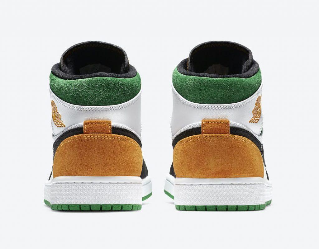 """ナイキ エア ジョーダン 1 ミッド SE """"オークランド""""-Nike-Air-Jordan-1-Mid-SE-White-Black-Green-Yellow-852542-101-heel"""