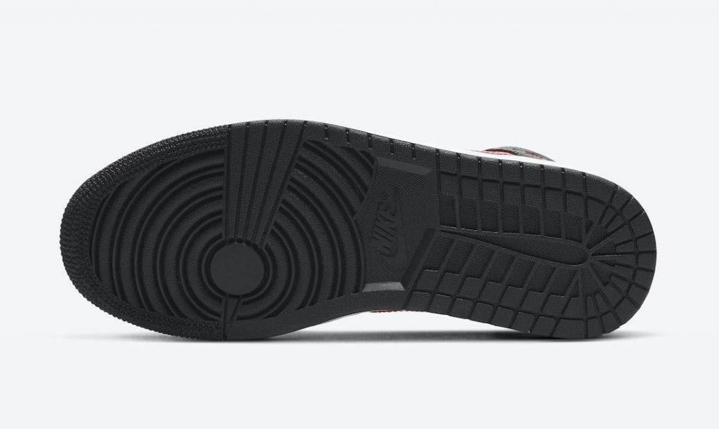 """ナイキ ウィメンズ エア ジョーダン 1 ミッド """"サイレン レッド"""" Nike-Air-Jordan-1-Mid-Siren-Red-BQ6472-004-sole"""