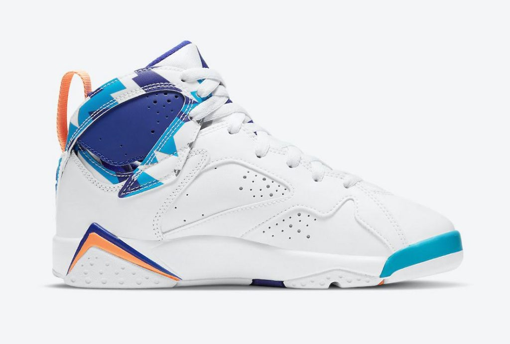 """ナイキ エア ジョーダン 7 GS """"クローリンブルー"""" Nike-Air-Jordan-7-GS-White-Chlorine-Blue-442960-100-3-side"""