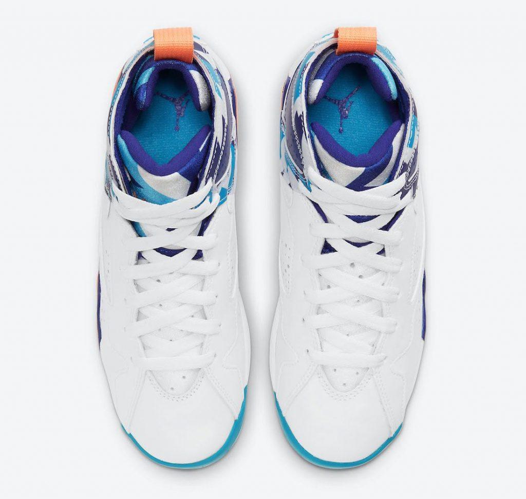 """ナイキ エア ジョーダン 7 GS """"クローリンブルー"""" Nike-Air-Jordan-7-GS-White-Chlorine-Blue-442960-100-4-top"""