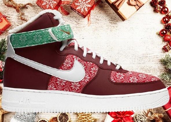 クリスマススニーカー2020 : Nike-Air-Force-1-High-Christmas-Sweater-2020