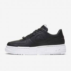 NIKE エアフォース1-black-ladies-sneakers-winter-style-Nike-Air-Force-1-pixel