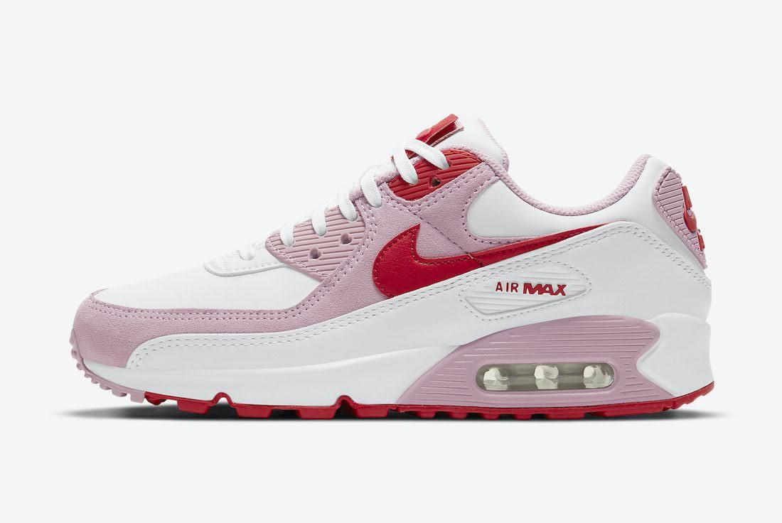 ナイキ エア マックス 90 バレンタインデー ハート ピンク スニーカー Nike-Air-Max-90-Valentines-Day-DD8029-100 side