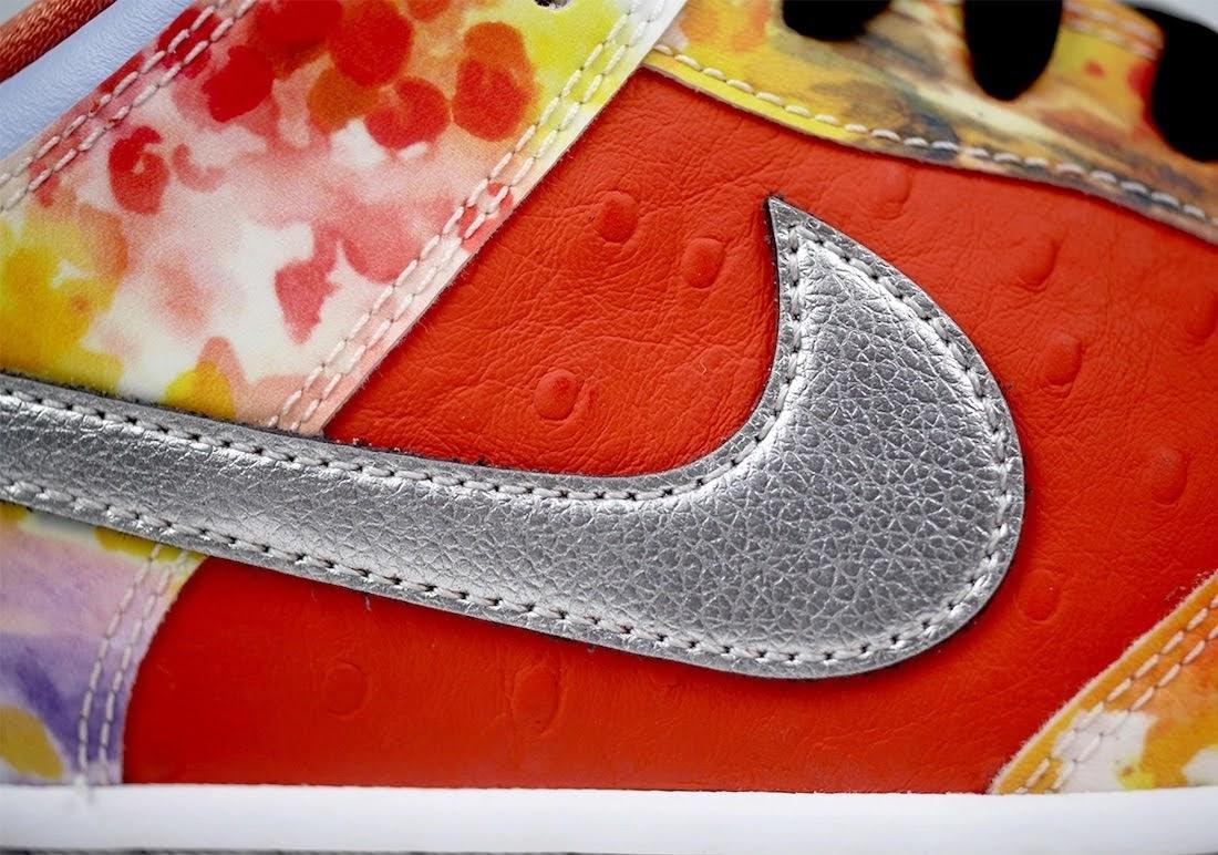 """ジェイソン デング x ナイキ SB ダンク ロー """"ストリート ホーカー"""" Jason-Deng-Nike-SB-Dunk-Low-Street-Hawker-CV1628-800-15-logo-closeup-right"""