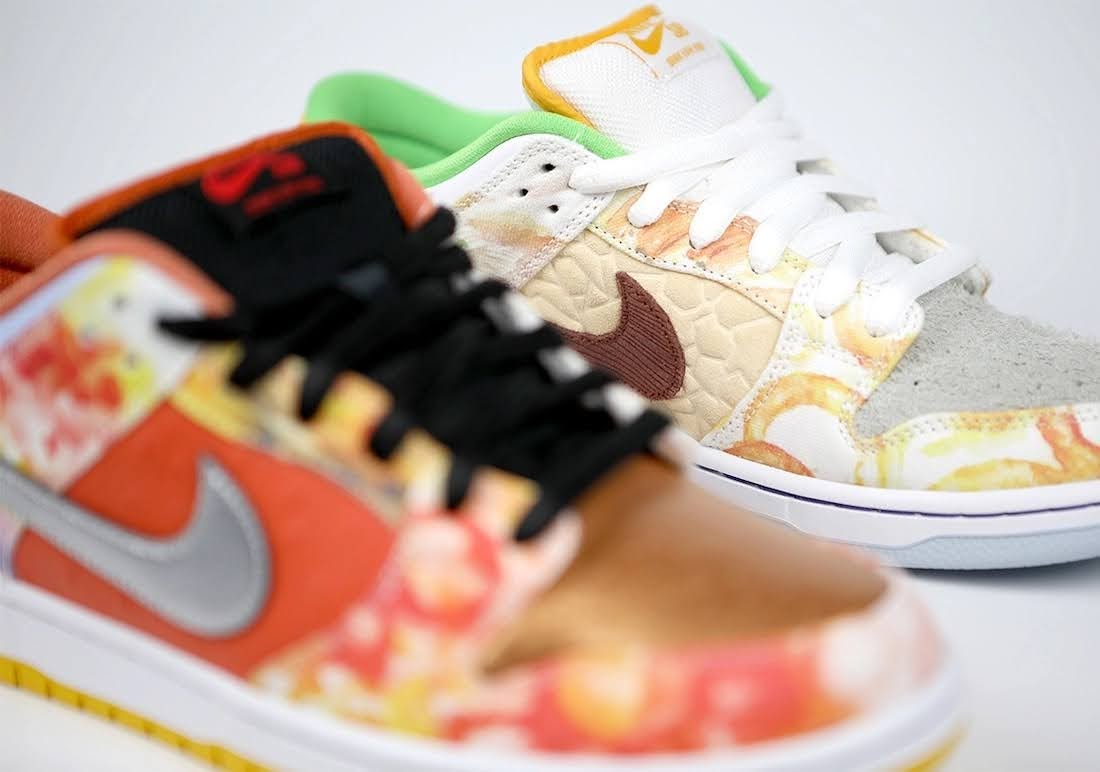 """ジェイソン デング x ナイキ SB ダンク ロー """"ストリート ホーカー"""" Jason-Deng-Nike-SB-Dunk-Low-Street-Hawker-CV1628-800-4-pair-closeup"""