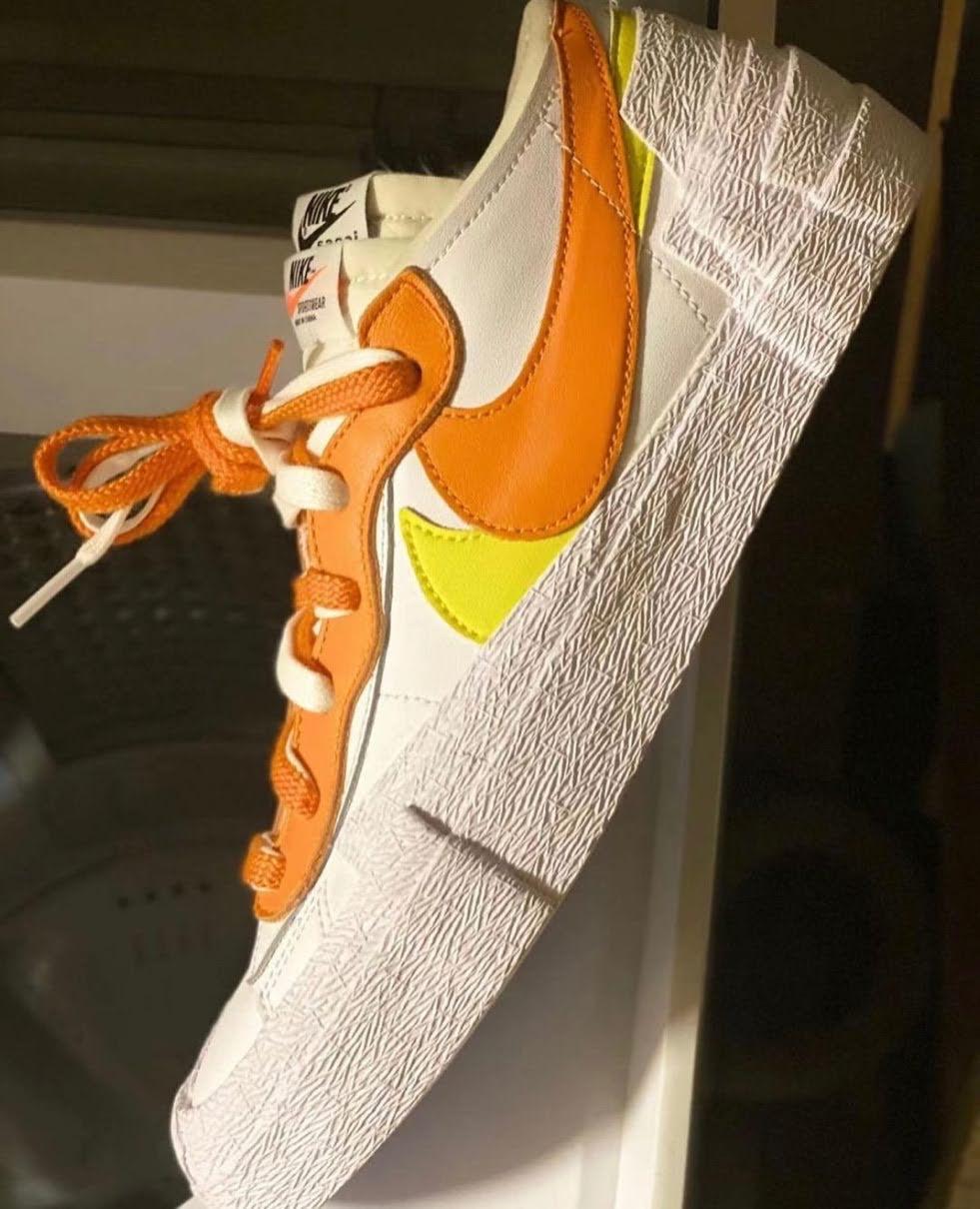 サカイ ナイキ コラボ ブレーザー ロー オレンジ Sacai-Nike-Blazer-Low-White-Magma-Orange-DD1877-100-solebyjc
