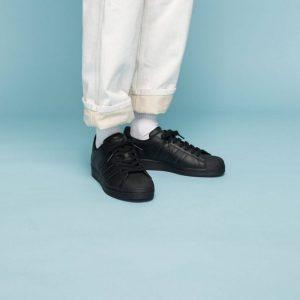 adidas スーパースター-black-ladies-sneakers-winter-style-adidas-originals-superstar-coreblack
