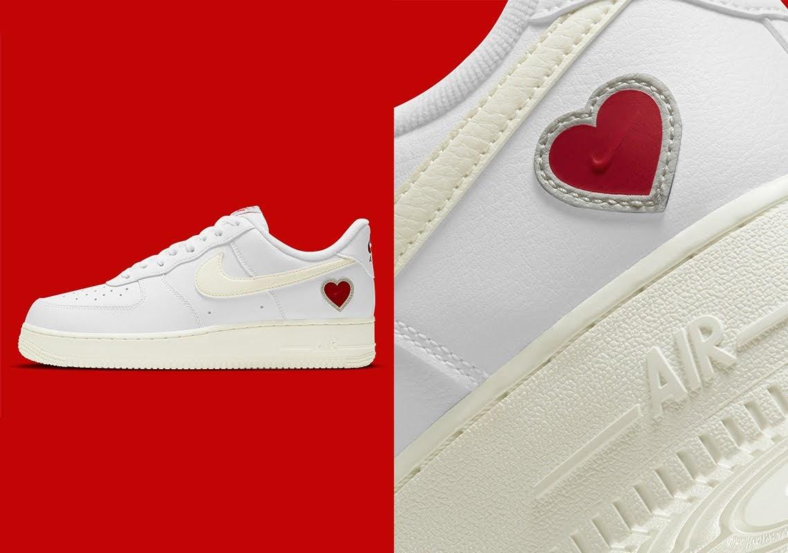 """ナイキ エア フォース 1 """"バレンタインズデー""""-Nike-Air-Force-1-Valentines-Day-DD7117-100-Sneaker News main side"""