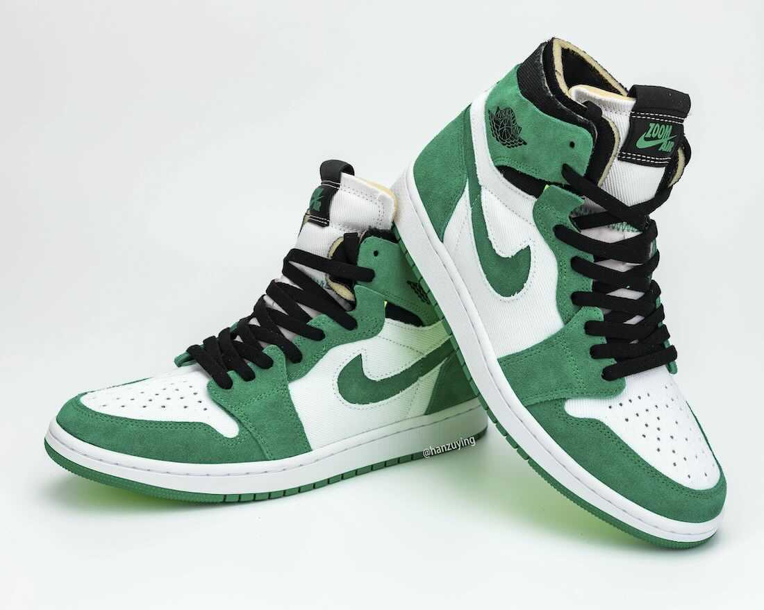 """ナイキ エア ジョーダン 1 ハイ ズーム """"スタジアムグリーン/ブラック/ホワイト"""" (NIKE AIR JORDAN 1 HIGH ZOOM """"Stadium Green/Black/White"""") [CT0978-300 detail pair"""