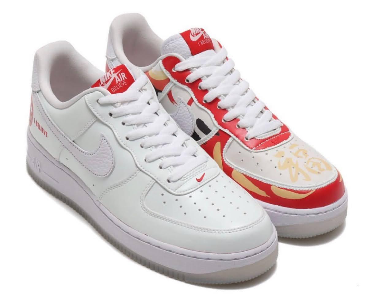 """Nike Air Force 1 Low """"I Believe DARUMA"""" / ナイキ エア フォース 1 ロー """"アイ ビリーブ 達磨"""" DD9941-100 half design main"""