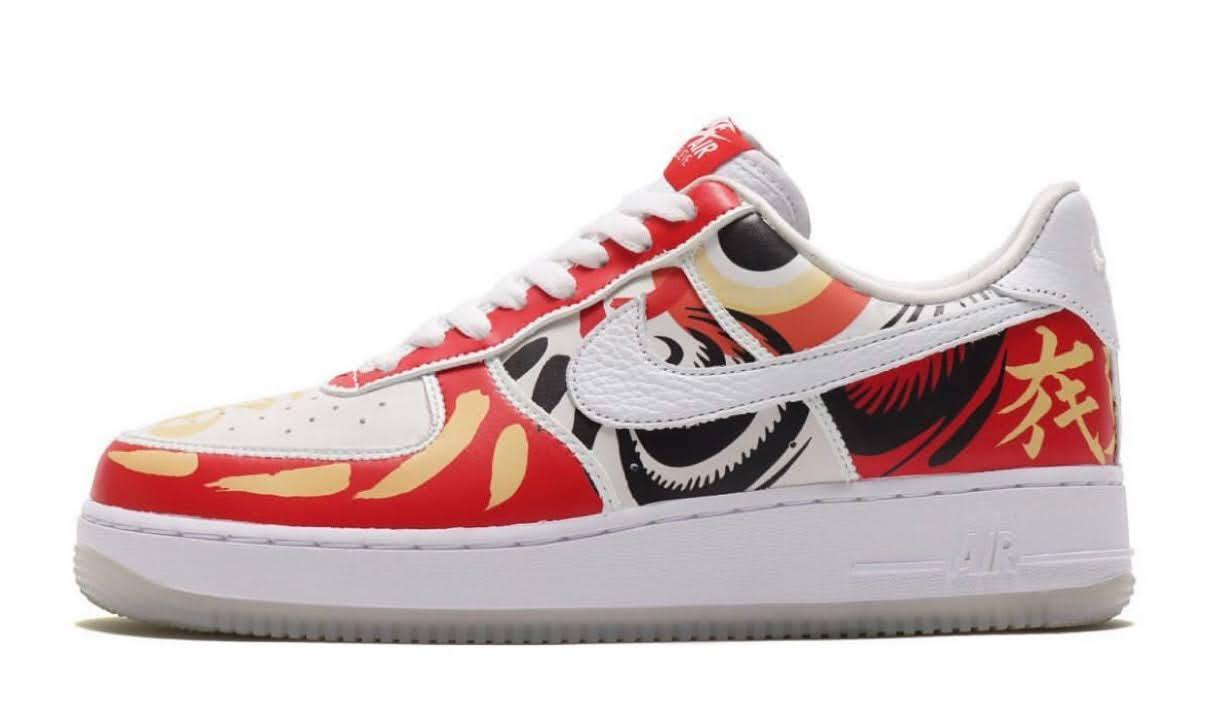 """Nike Air Force 1 Low """"I Believe DARUMA"""" / ナイキ エア フォース 1 ロー """"アイ ビリーブ 達磨"""" DD9941-100 side detail"""