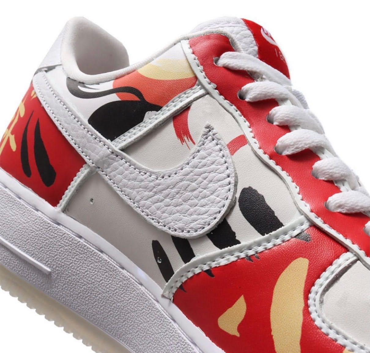"""Nike Air Force 1 Low """"I Believe DARUMA"""" / ナイキ エア フォース 1 ロー """"アイ ビリーブ 達磨"""" DD9941-100 detail swoosh"""