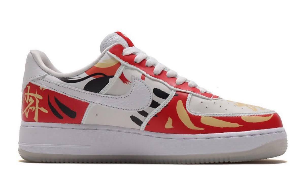 """Nike Air Force 1 Low """"I Believe DARUMA"""" / ナイキ エア フォース 1 ロー """"アイ ビリーブ 達磨"""" DD9941-100 detail swoosh side"""