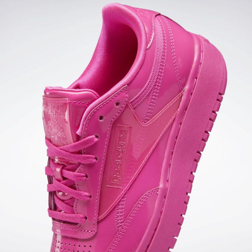 リーボック × カーディビー/ クラブ シー ダブル (ダイナミックピンク) Reebok_Cardi_Coated_Club_C_Double_Pink_H02566-side-closeup