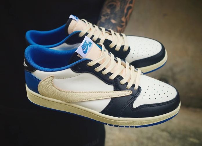 "Travis Scott × Fragment x Nike Air Jordan 1 Low OG ""UNC"" トラヴィス スコット × ナイキ エア ジョーダン 1 ロー OG ""UNC"" DM7866-140 detail"
