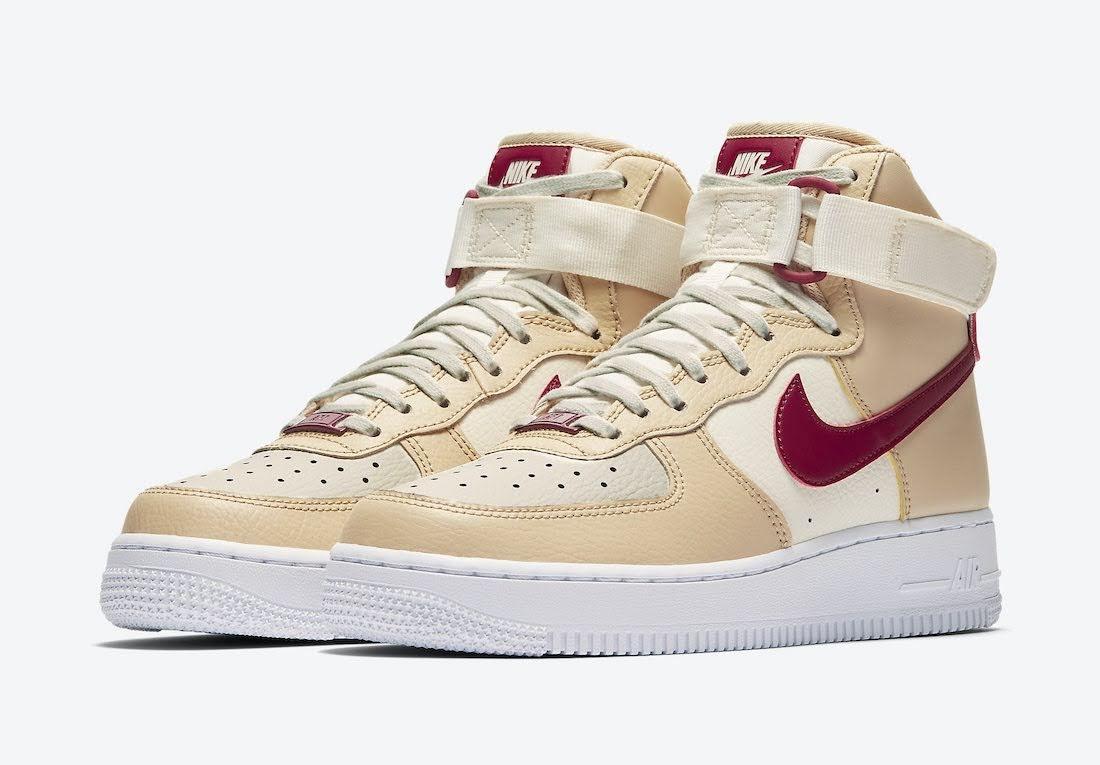 """ナイキ ウィメンズ エア フォース 1 ハイ """"ノーブル レッド"""" Nike-Air-Force-1-High-WMNS-334031-200-pair"""
