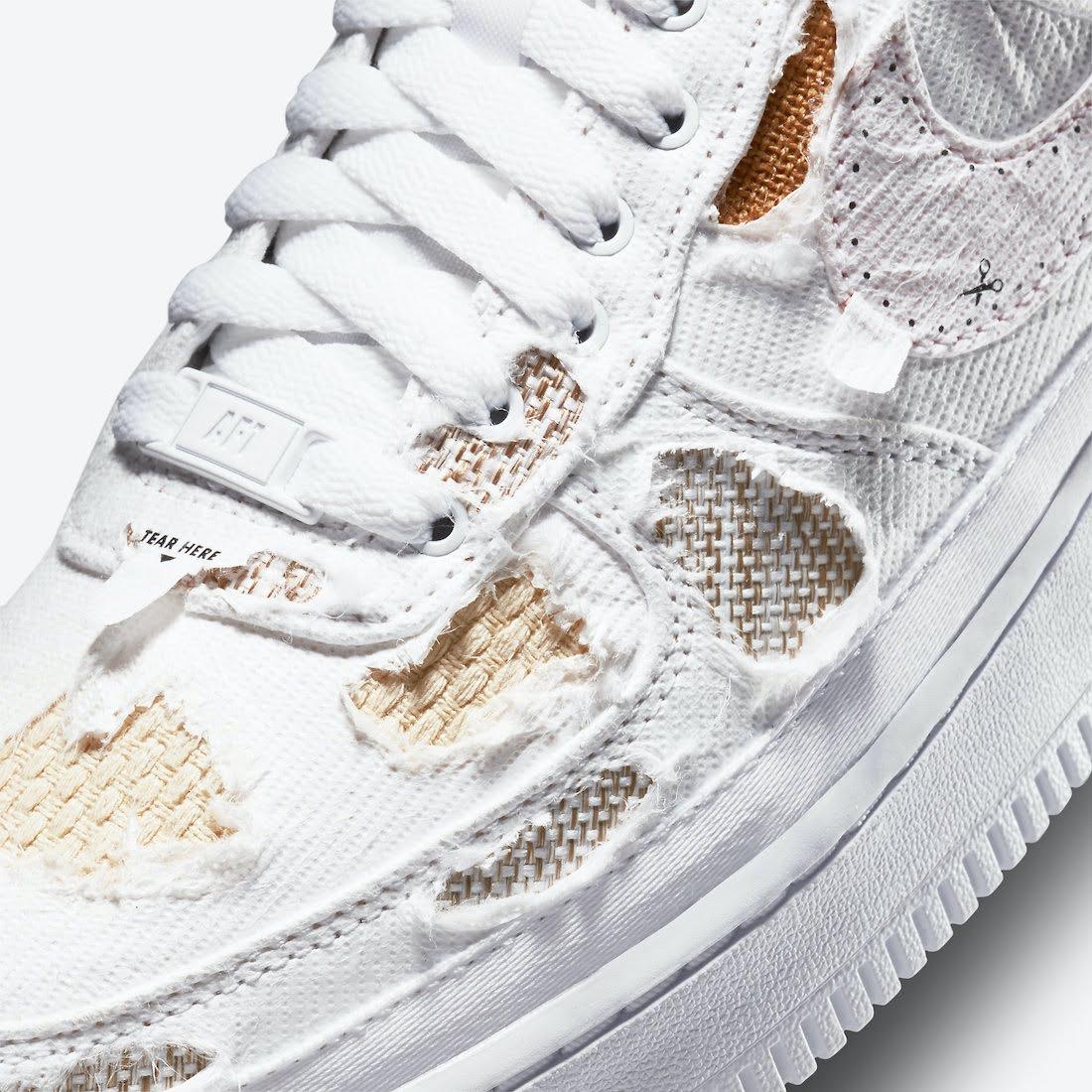 """ナイキ エア フォース 1 ロー """"リベール"""" Nike-Air-Force-1-Low-Reveal-Tear-Away-DJ9941-244-toe-ripped"""