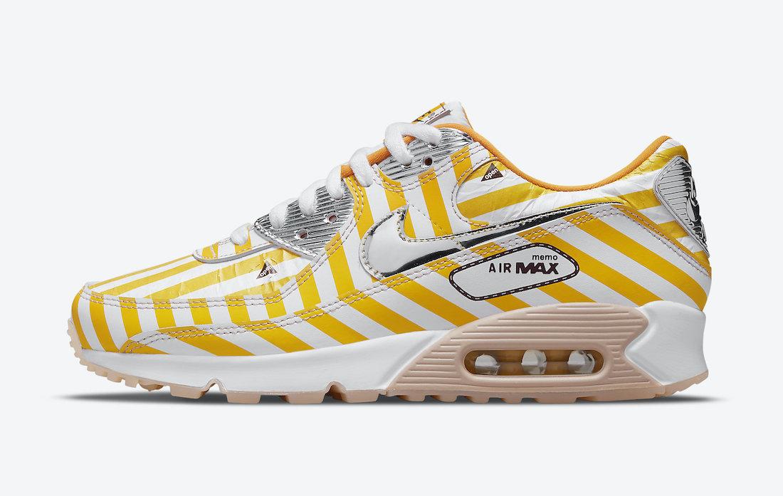 """Nike Air Max 90 SE """"Swoosh Mart"""" ナイキ エアマックス 90 SE """"スウッシュ マート"""" Speed Yellow/Shimmer-White-Siren Red-Black-Pure Platinum DD5481-735 main"""