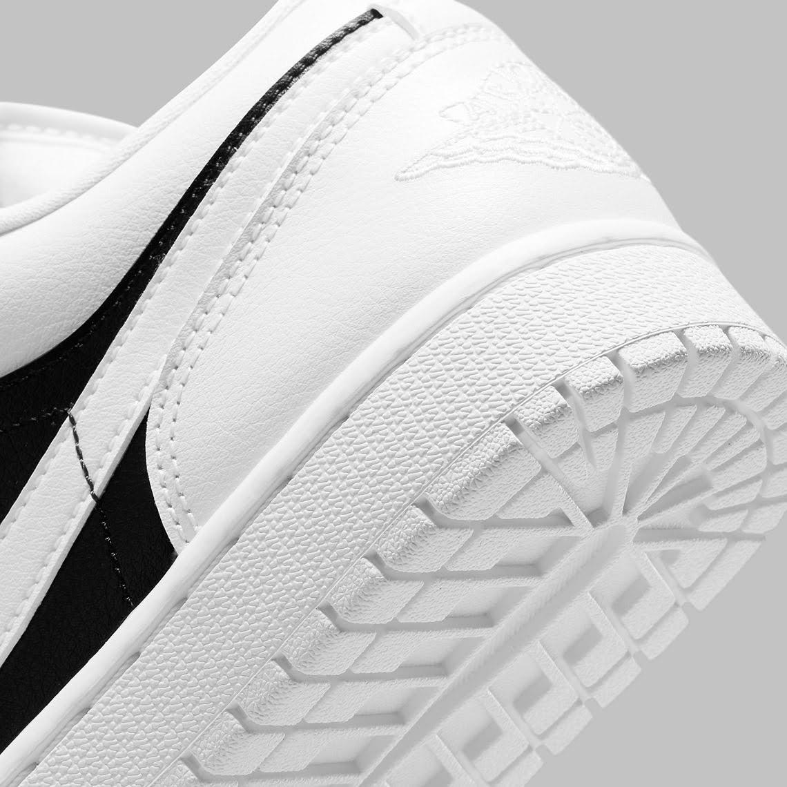 """ナイキ ウィメンズ エア ジョーダン 1 ロー """"パンダ"""" nike-air-jordan-1-low-wmns-white-black-DC0774-100-side-heel-closeup"""