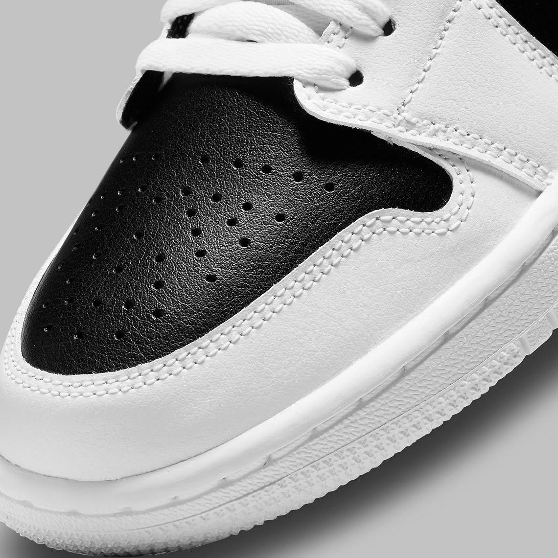 """ナイキ ウィメンズ エア ジョーダン 1 ロー """"パンダ"""" nike-air-jordan-1-low-wmns-white-black-DC0774-100-toe-closeup"""
