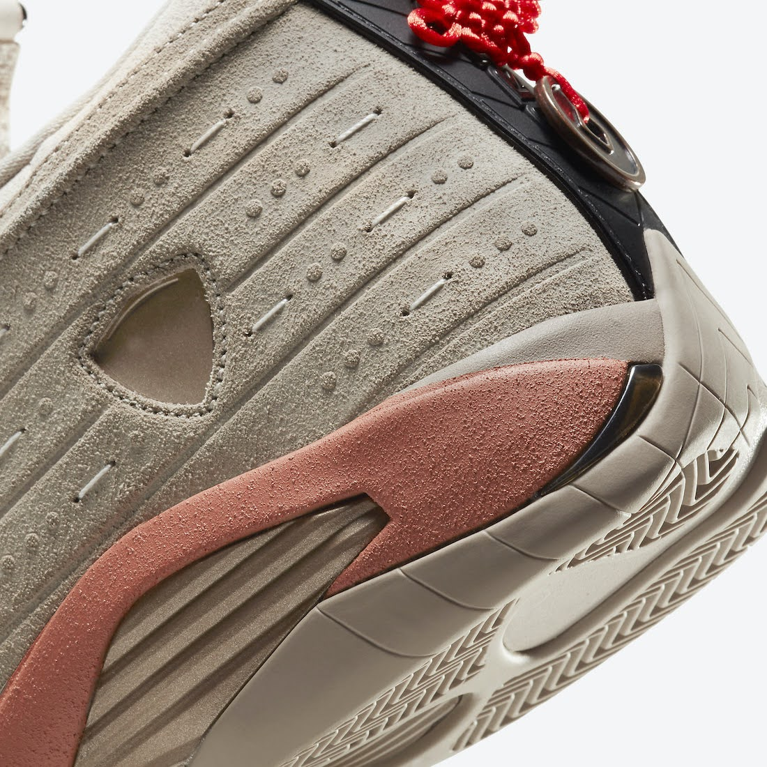 """クロット × ナイキ エア ジョーダン 14 ロー """"テラコッタ"""" clot-x-nike-air-jordan-14-low-terracotta-dc9857-200-side-heel-closeup"""