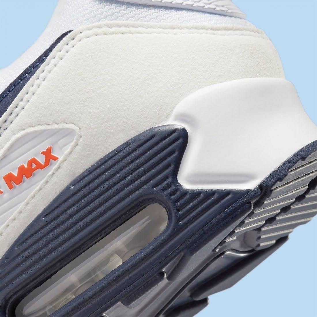 """ナイキ エア マックス 90 """"ネイビー/ オフホワイト"""" nike-air-max-90-navy-off-white-DM2820-100-DM2820-100-side-heel-closeup"""