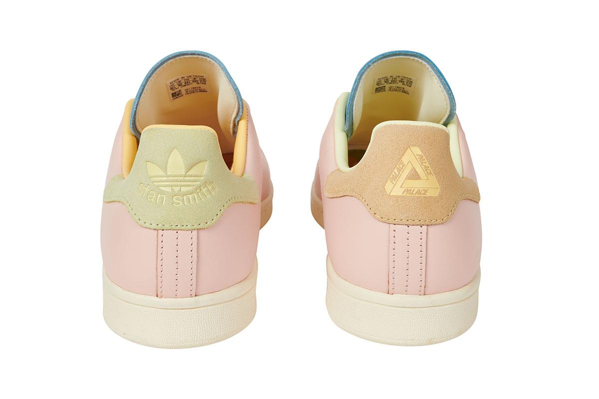 """パレス スケートボード × アディダス オリジナルス スタンスミス """"ハーゼ イエロー/ アイスピンク-アイスブルー"""" Palace-Skateboards-adidas-Originals-Stan-Smith-Hase-Yellow-Ice-Pink-Ice-Blue-pair-back"""