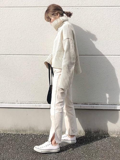 白 スニーカー コーデ レディース コンバース ホワイト Converse All Star White Outfits Women