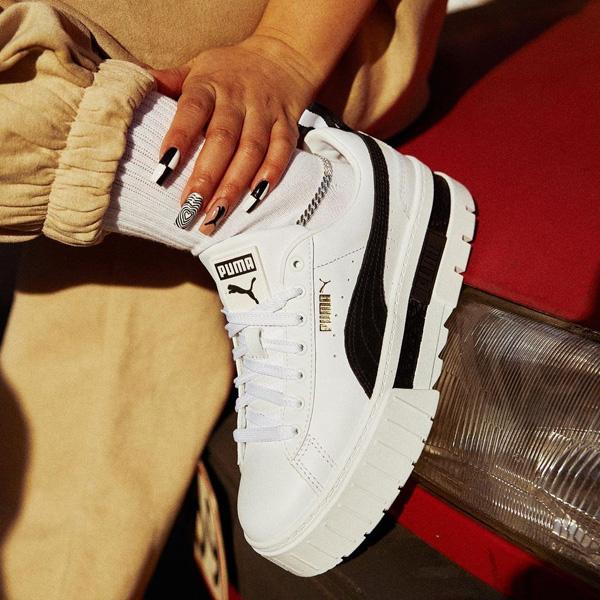 プーマ メイズ スニーカー ブラック ホワイト ウィメンズ 厚底 Puma Mayze WMNS Sneakers White Black