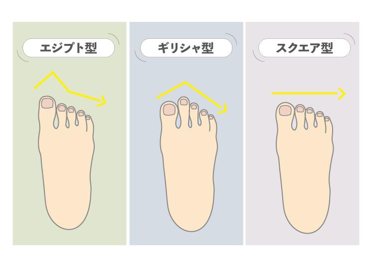 足の形 スニーカー 特徴 エジプト型 ギリシャ型 スクエア型 3 types of foot shapes