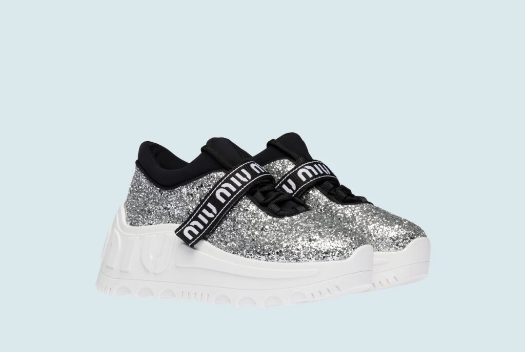 MIU MIU グリッターXネオプレン スニーカー high-brand-sneakers-recommended-miumiu